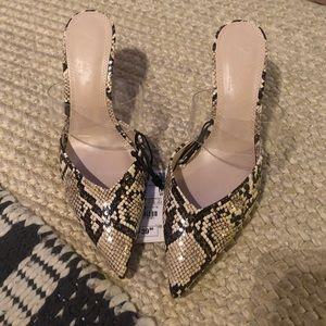 NWT Zara Snake Print Mule Heels